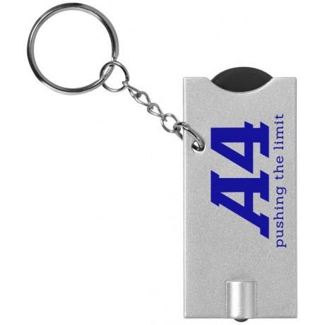 Porte-clés avec jeton et lampe-torche Allegro pour entreprise