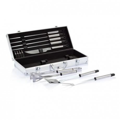 Set de 12 pcs pour barbecue en coffret aluminium pour entreprise