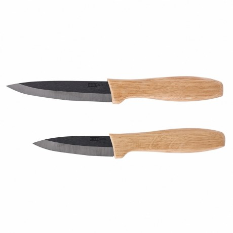 Set 2 couteaux céramique noire et bois personnalisable