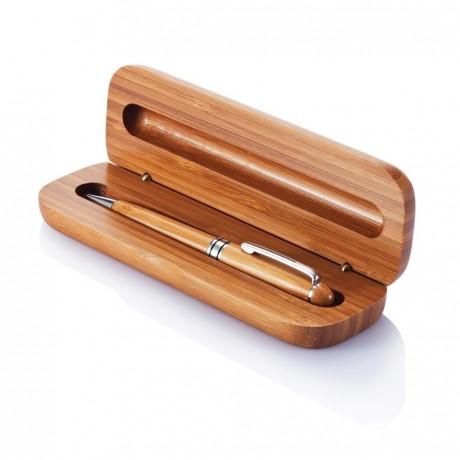 Stylo à bille en bambou avec coffret personnalisable