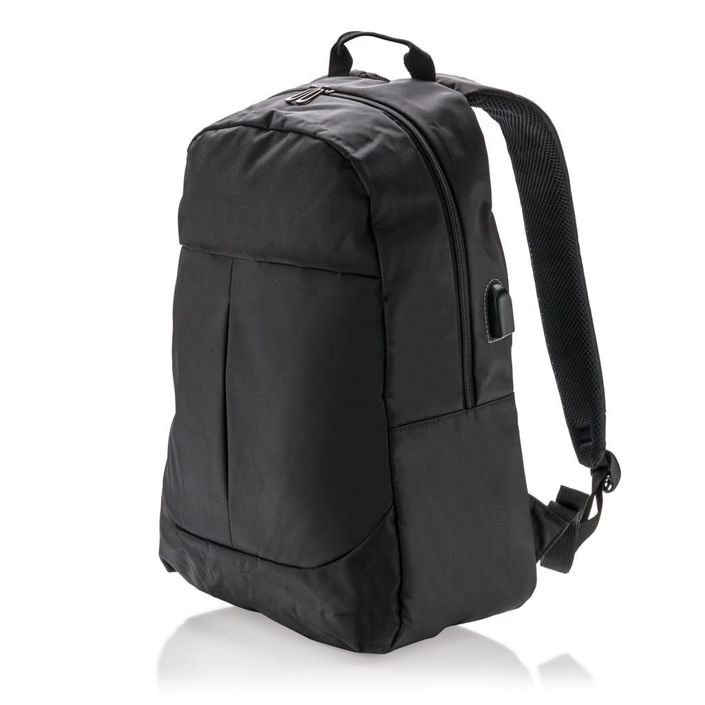 sac dos pour ordinateur avec prise usb et votre logo par kelcom. Black Bedroom Furniture Sets. Home Design Ideas